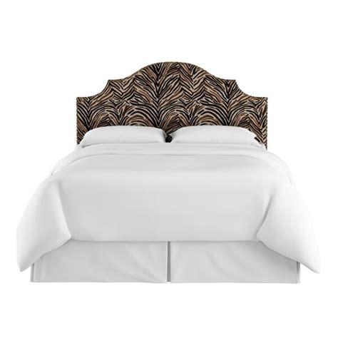 Genevie Nail Button Border Washed Zebra Upholstered Panel Headboard