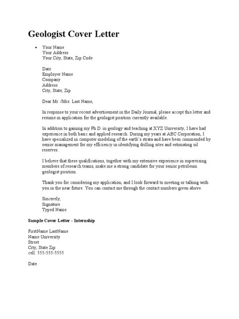 geologist cover letter sample pdf graduate geologist sample cover letter career faqs
