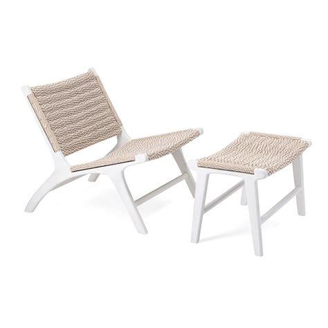 Gerhardina Woven Teak Lounge Chair and Ottoman