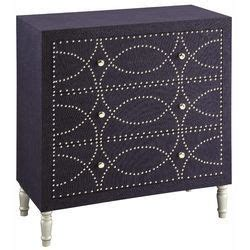 Gertruda Fabric and Nailhead 3 Drawer Chest