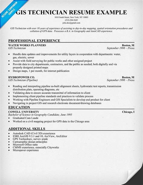 sample resume for gis engineer gis technician resume sample - Geographic Information System Engineer Sample Resume