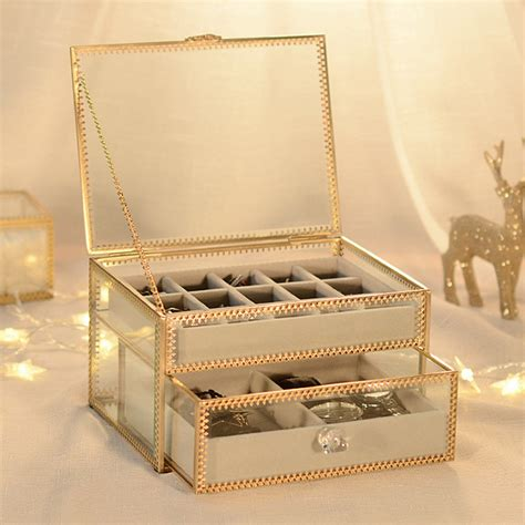 glass jewelry box cheap