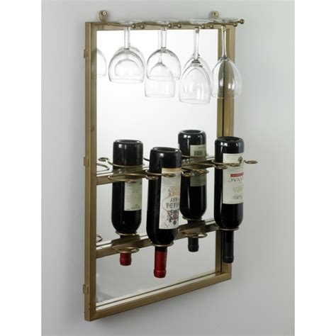 glass wine rack in mirrored