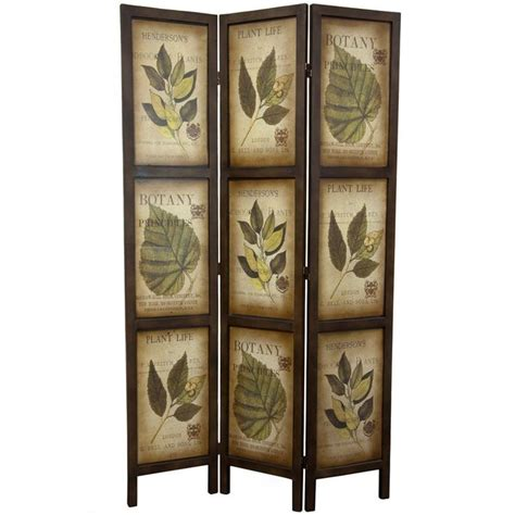 Glenway 71 x 42 Double Sided Botanic Printed 3 Panel Room Divider