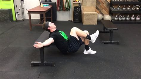 glute bridge back on bench