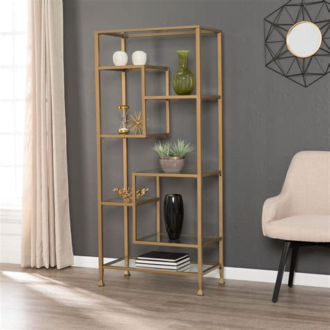 gold and glass horizontal bookshelf