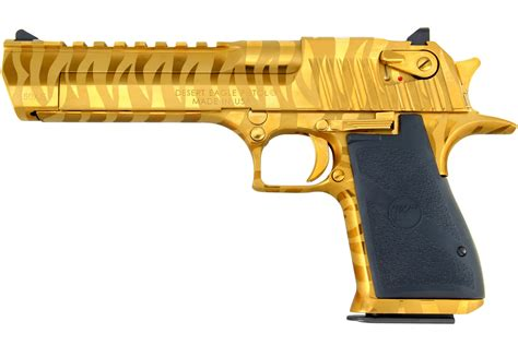 Desert-Eagle Gold 50 Cal Desert Eagle With Tiger Stripes.