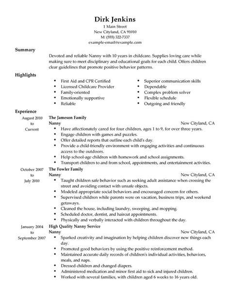 good nanny resume sample resume objective for nanny best sample resume