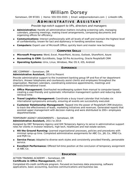 Good resume for executive secretary