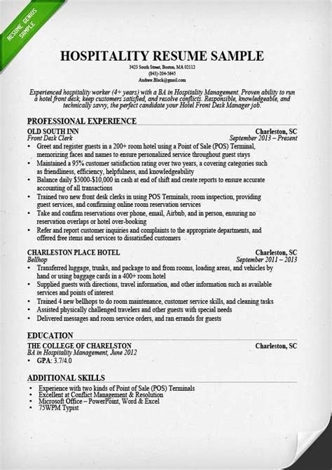Good Resume Examples Hospitality Hospitality Job Resume Samples The Balance