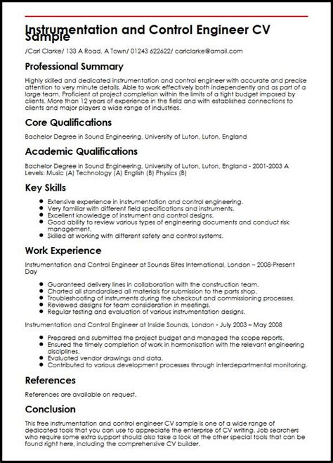 good resume example for instrumentation engineering instrumentation and control engineer resume sample - Instrument Engineer Sample Resume