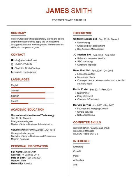 Graduate Student Resume Sample 6 Sample Resume For Graduate Students Download Now