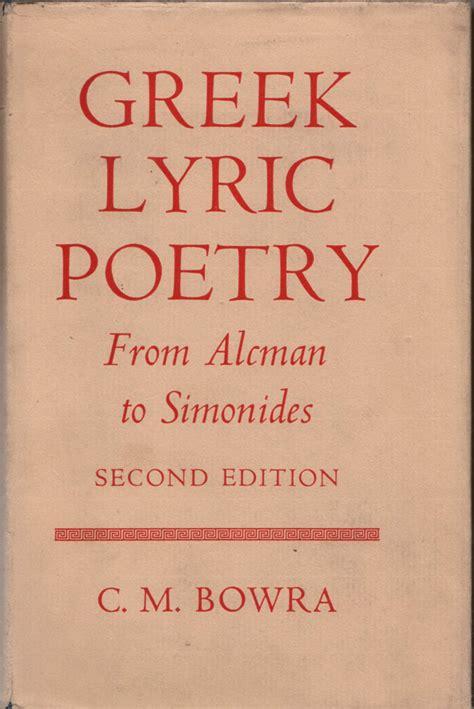 Read Books Greek Lyric Poetry Online