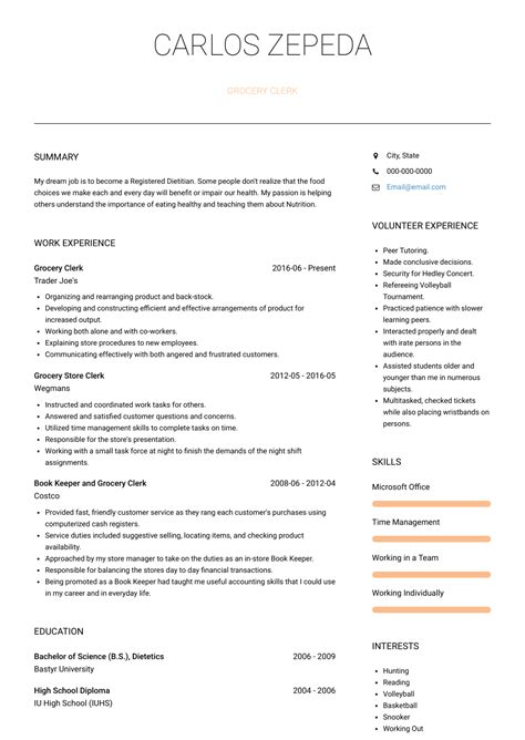 Inventory Clerk Resume Sample