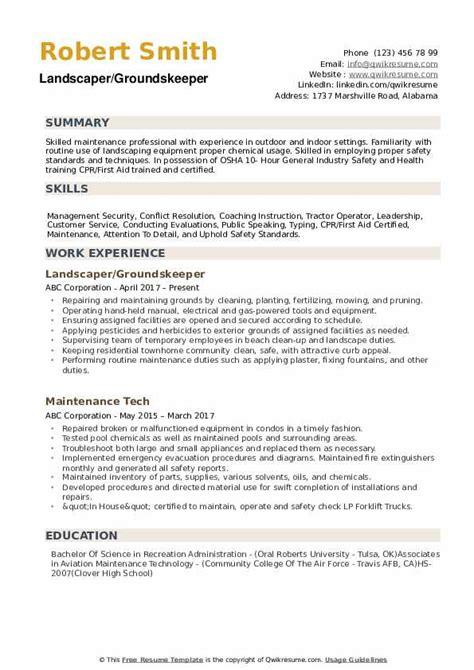 groundskeeper job description for resume getting started guide