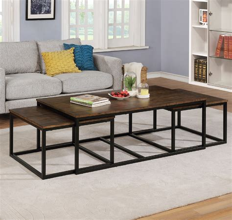 Habandi Industrial Style 3 Piece Coffee Table Set