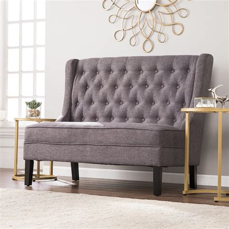 Halpin High-Back Tufted Settee Bench
