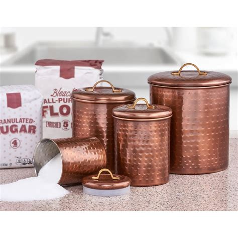 Hammered Copper Canister Set  Ebay.