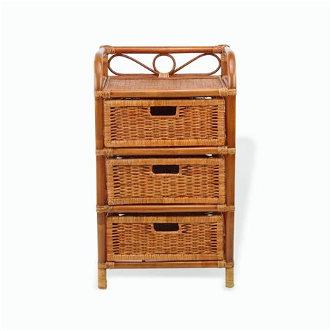 Hand Crafted Bamboo Wood 3 Drawer Chest