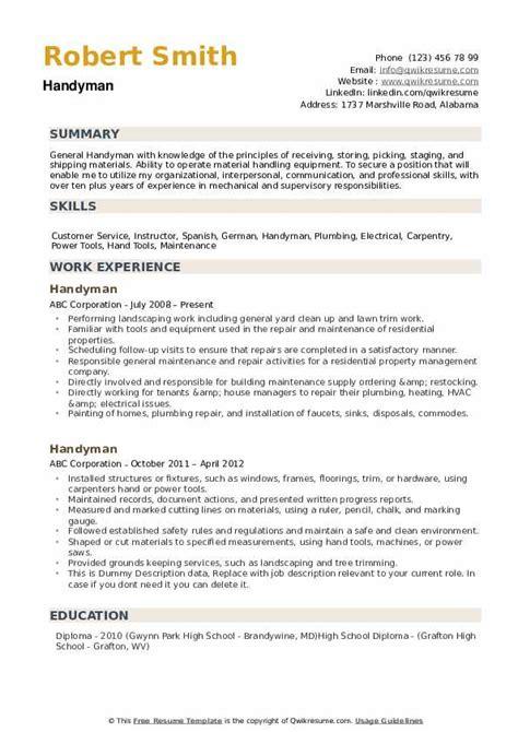 handyman helper resume handyman caretaker resume sample livecareer
