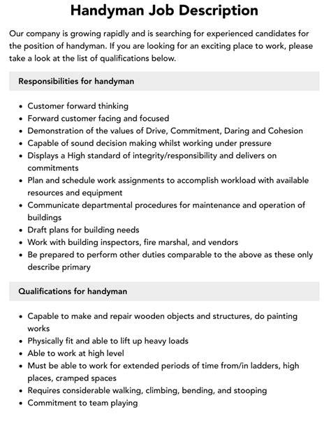 handyman resume job description handyman job descriptions chron - Handyman Resume