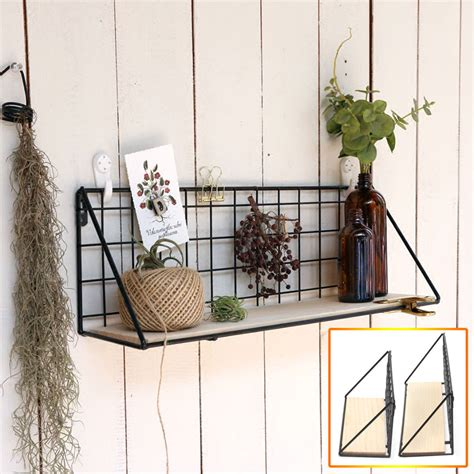 Hanning Wood and Metal Hanging Wall Shelf