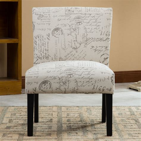 Harleysville English Letter Print Fabric Slipper Chair
