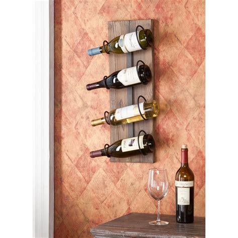 Harriett Bamboo 4 Bottle Wall Mounted Wine Rac by