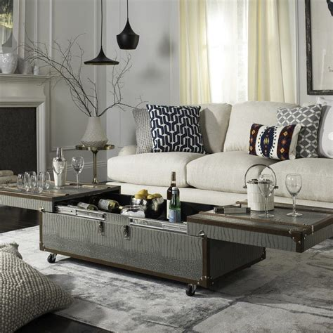 Hassan Coffee Table Storage Trunk with Wine Rack