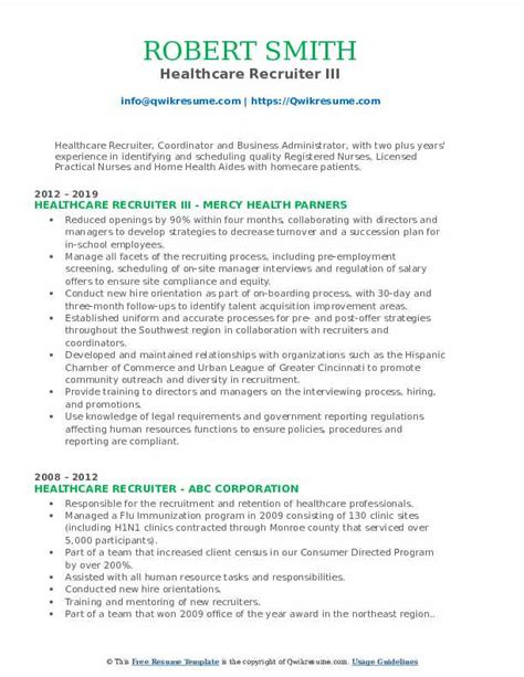 Resume Sample Resume Healthcare Recruiter corporate recruiter resume samples visualcv healthcare examples how to write a elementary resume