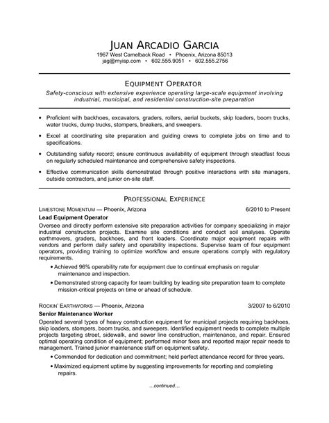 resume summary heavy equipment operator teacher resume cover
