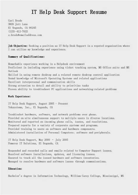 Computer Help Desk Resume Gallery - resume format examples 2018
