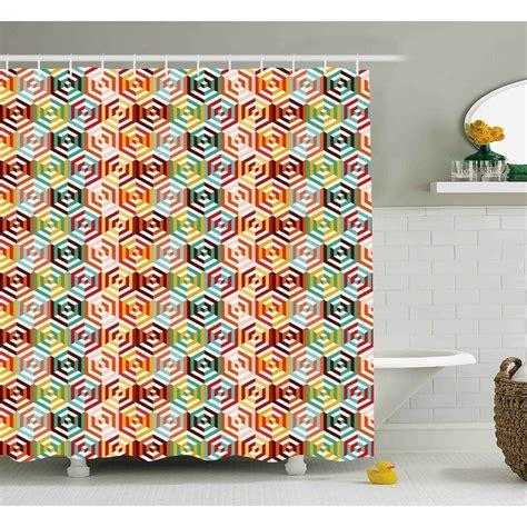 Hiedi Hexagonal Shape Retro Print Shower Curtain