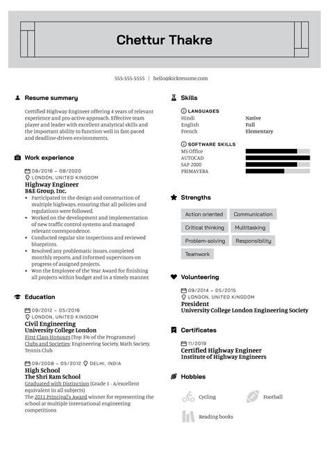 highway design engineer resume sample civil engineering cv template structural engineer - Highway Design Engineer Sample Resume