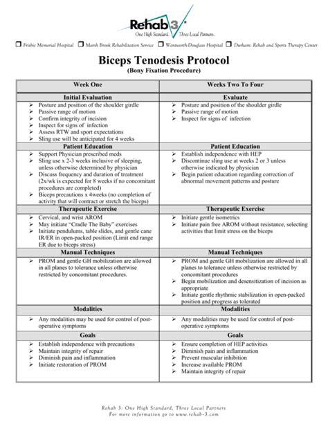 hip flexor rehabilitation protocol biceps tenodesis procedure