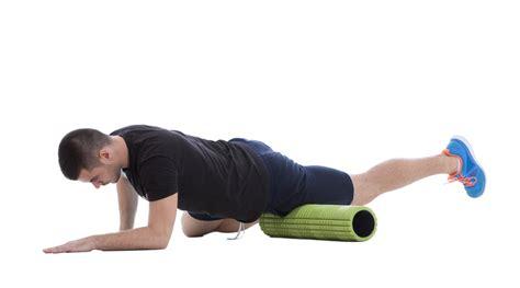 hip flexor stretch foam roller male on back
