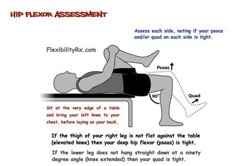 hip flexor tightness test prone meaning in english