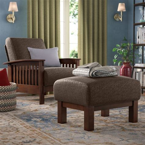 Hoekstra Mission Fabric Armchair and Ottoman
