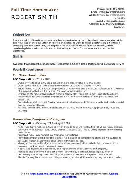 homemaker resume samples examples entry level homemaker resume with no experience - Homemaker Resume Sample