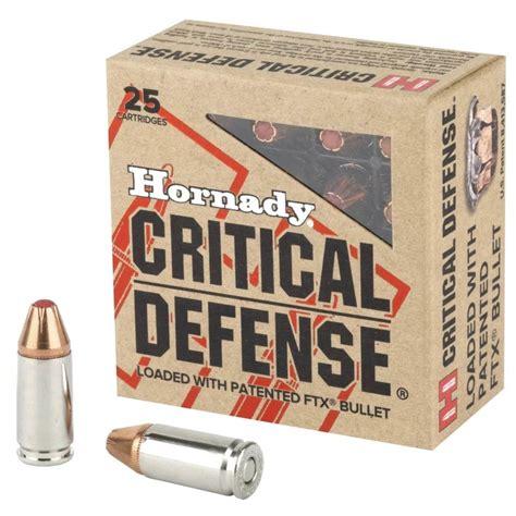 Ammunition Hornady Critical Defense 9mm Luger 115 Grain Ftx Ammunition.
