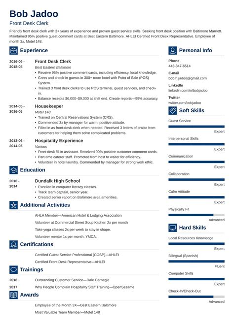 Resume Page Customer Service Resume Professional Hospitality Front Desk Clerk  Medical Front Office Resume Pdf with Police Dispatcher Resume Pdf Hospitality Skills Resume Sample Hospitality Resume Samples Resumes For The  Hospitality  Sample Resume Hospitality Industry Self Starter Resume Pdf