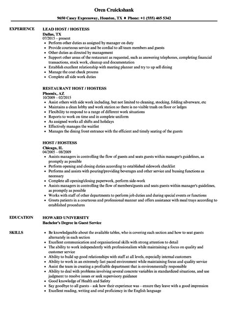 hostess resume skills clasifiedad com - Hostess Job Description For Resume