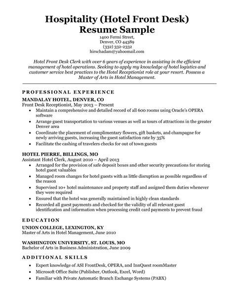 sample hotel receptionist resume example hotel front desk clerk resume sample