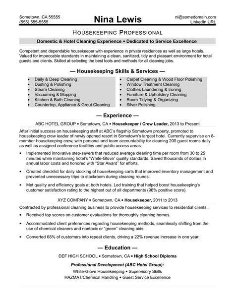 top housekeeper supervisor resume samples slideshare - Housekeeping Sample Resume