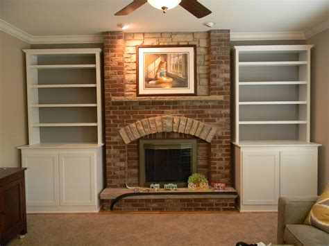 how to build bookcases around fireplace