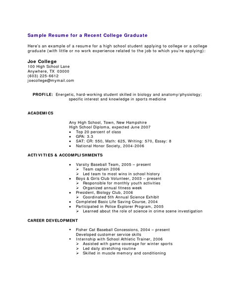 Resume writing for high school students basics
