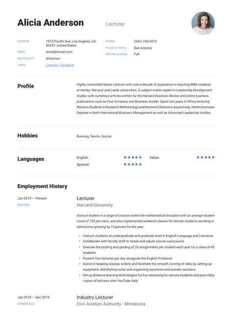 How To Write Resume For Lecturer Post 6 Lecturer Resume Samples Examples Download Now