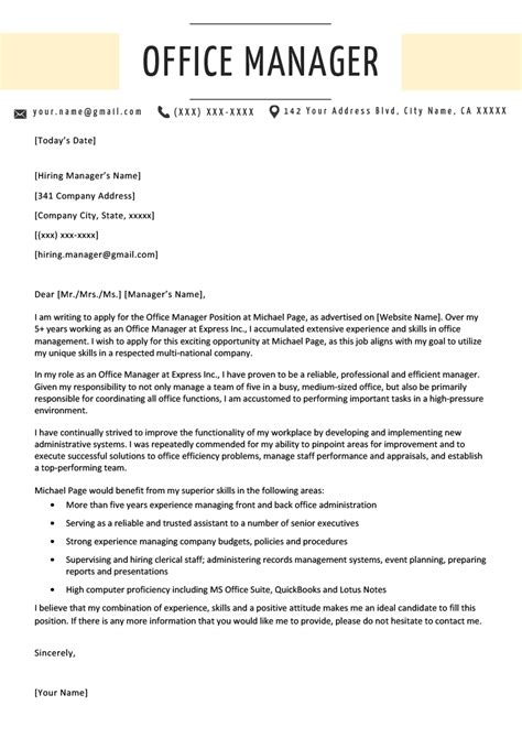 how to write a cover letter for an office manager position office manager cover letter sample - Office Manager Cover Letters