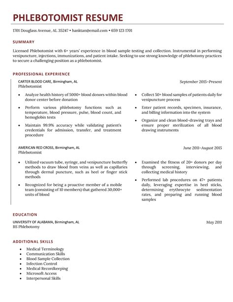 how to make a good phlebotomist resume phlebotomist resume sample cover letter and resume samples