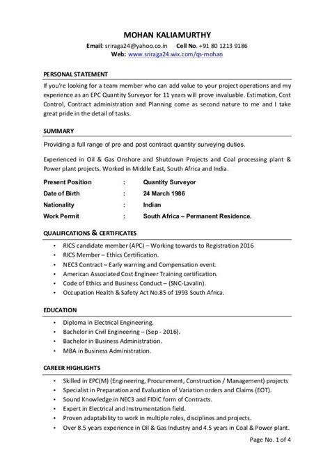 how to write a good cv quantity surveyor quantify surveyor resume example and template quantity surveyor resume